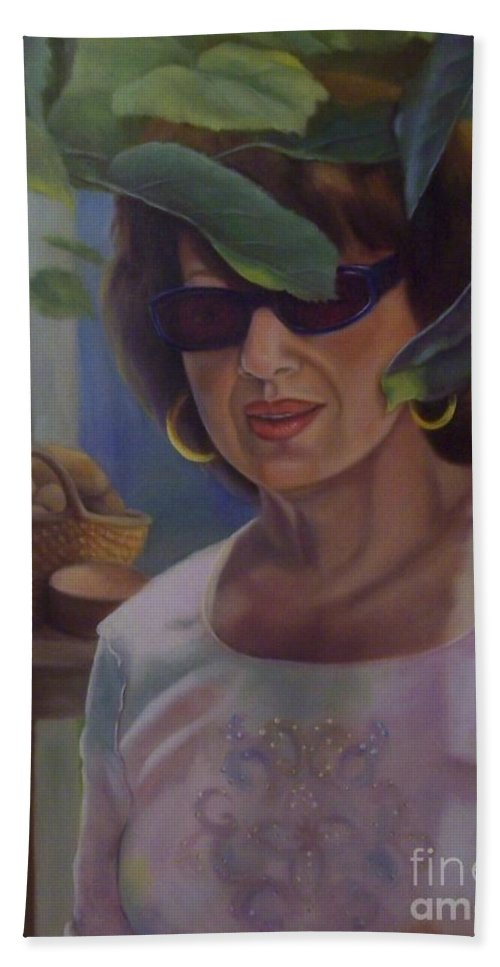 Portrait Beach Towel featuring the painting Dianne by Marlene Book