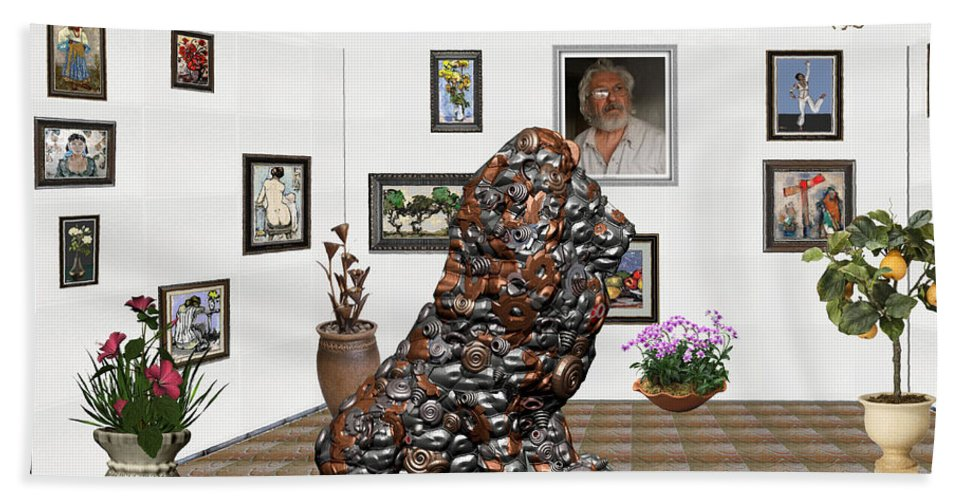 Modern Painting Beach Towel featuring the mixed media digital exhibition _Modern Statue of scrap by Pemaro