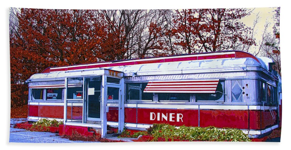 Diner Beach Towel featuring the mixed media Diner by Dominic Piperata