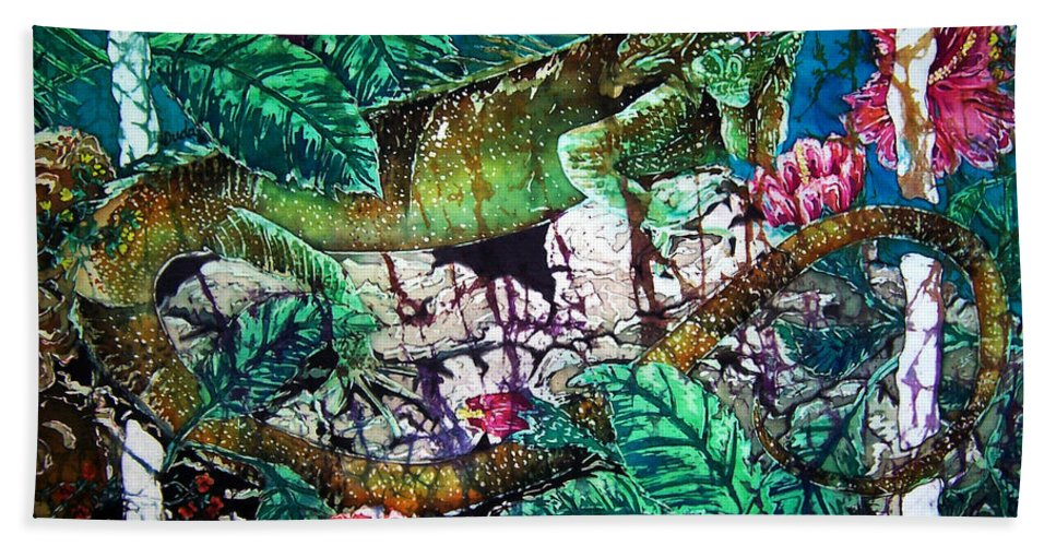 Iguana Beach Towel featuring the painting Dining At The Hibiscus Cafe - Iguana by Sue Duda