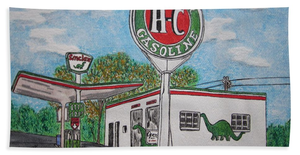 Dino Beach Towel featuring the painting Dino Sinclair Gas Station by Kathy Marrs Chandler