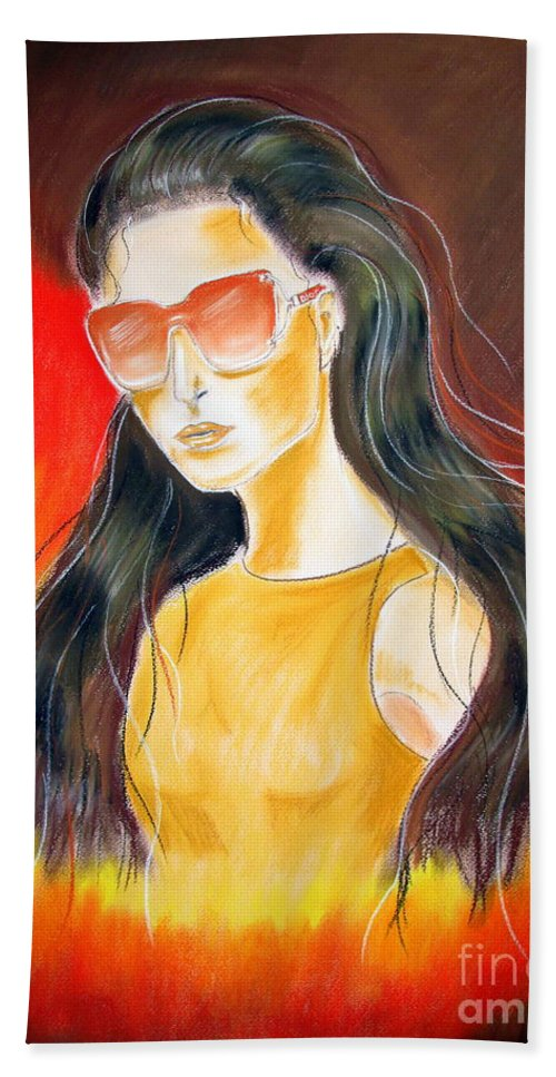 Sunglasses Beach Towel featuring the pastel Dior..1 by Jo Hoden