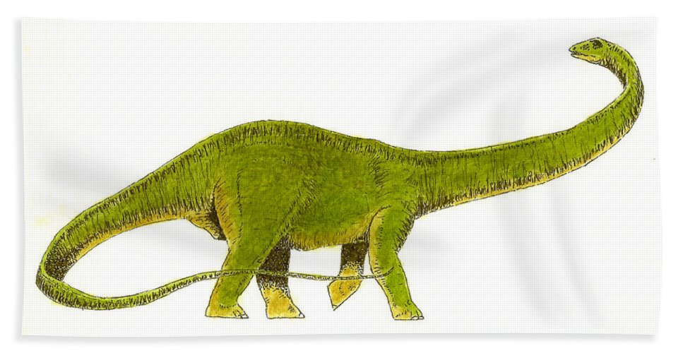 Animals Beach Towel featuring the painting Diplodocus by Michael Vigliotti