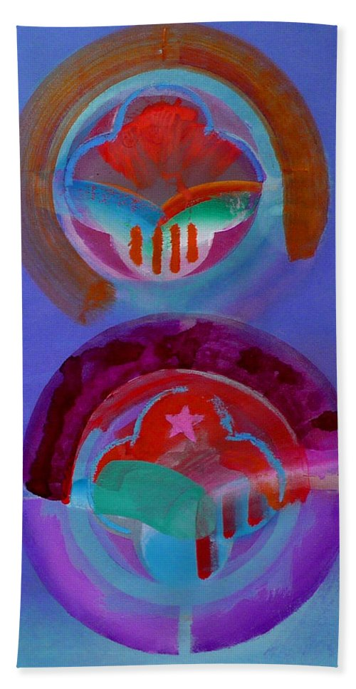 Logo Beach Towel featuring the painting Diptych by Charles Stuart