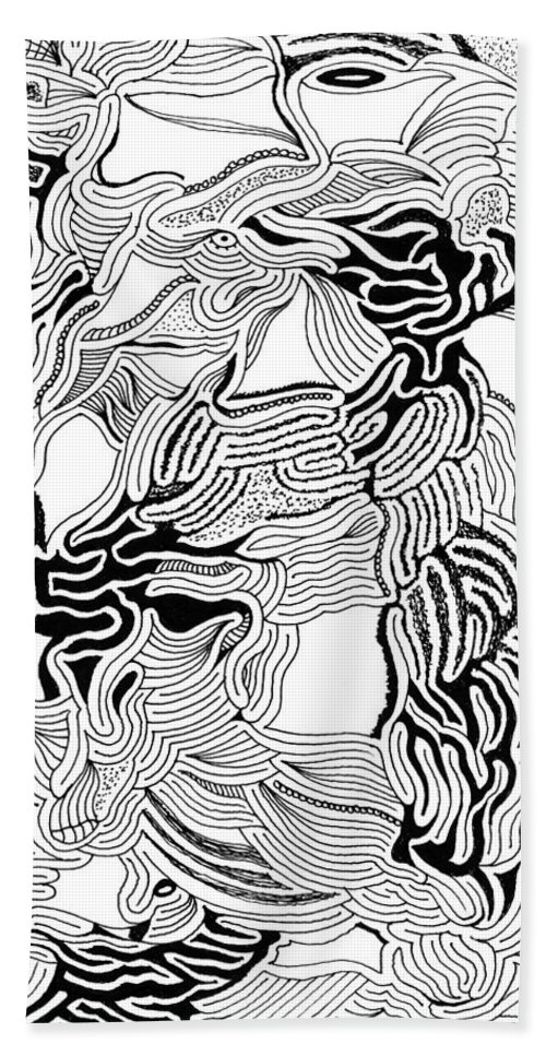 Mazes Beach Towel featuring the drawing Disconnected by Steven Natanson