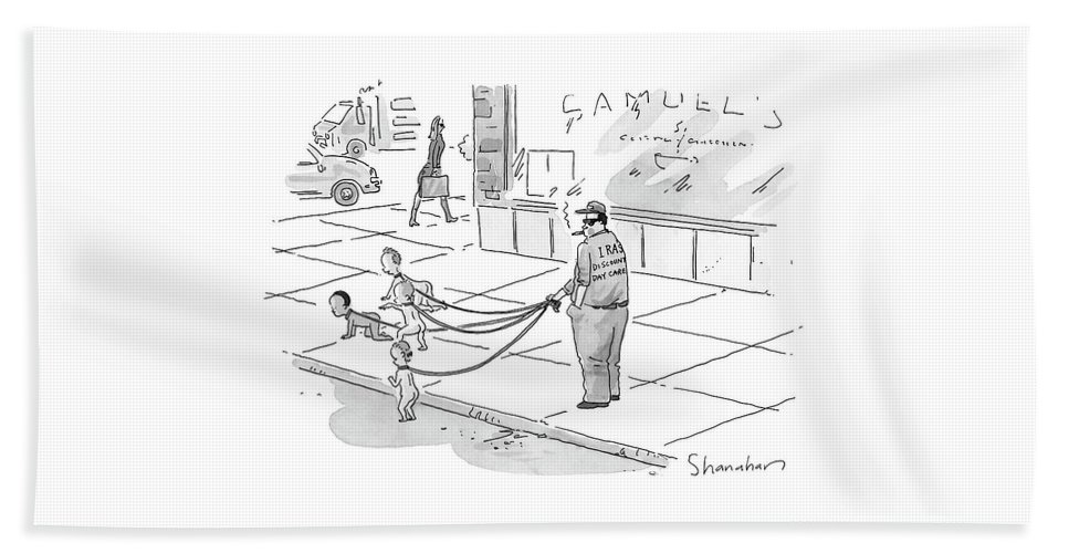 Dogs - Walking; Daycare; Babies - General; Discount Daycare Beach Sheet featuring the drawing Discount Day Care by Danny Shanahan