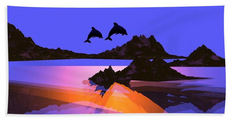 Dolphin Beach Towel featuring the digital art Discovery- by Robert Orinski