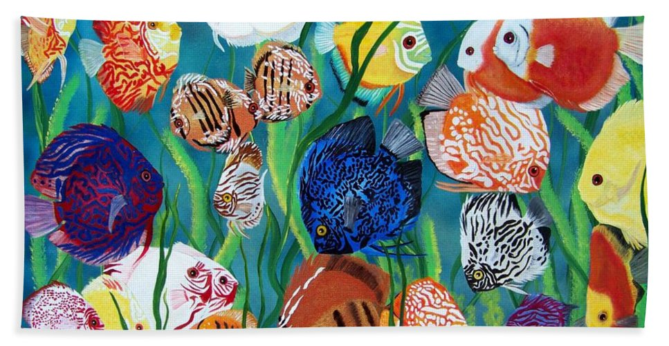Fish Beach Towel featuring the painting Discus Fantasy by Debbie LaFrance