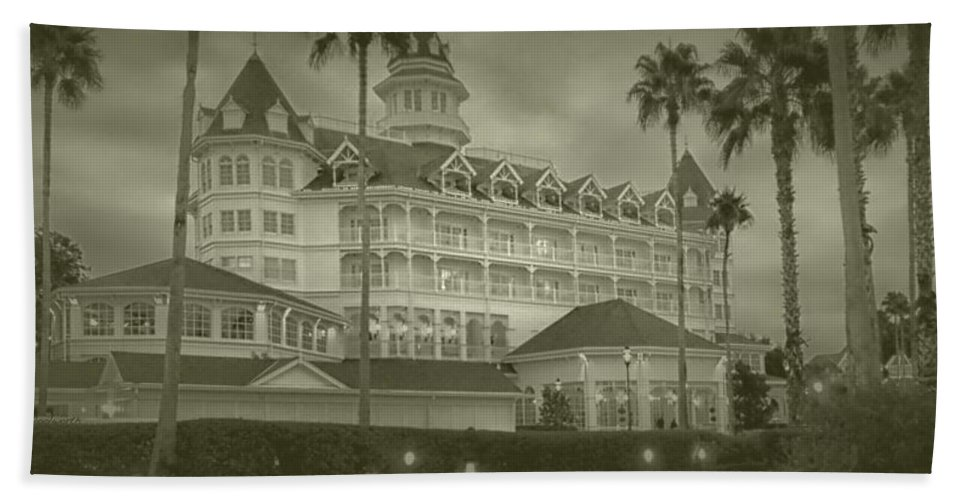 Grand Floridian Resort Beach Towel featuring the photograph Disney World The Grand Floridian Resort Vintage by Thomas Woolworth