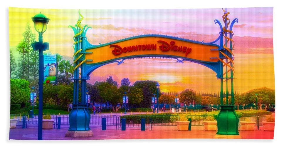 Disney Beach Towel featuring the mixed media Disneyland Downtown Disney Signage Rainbow by Thomas Woolworth