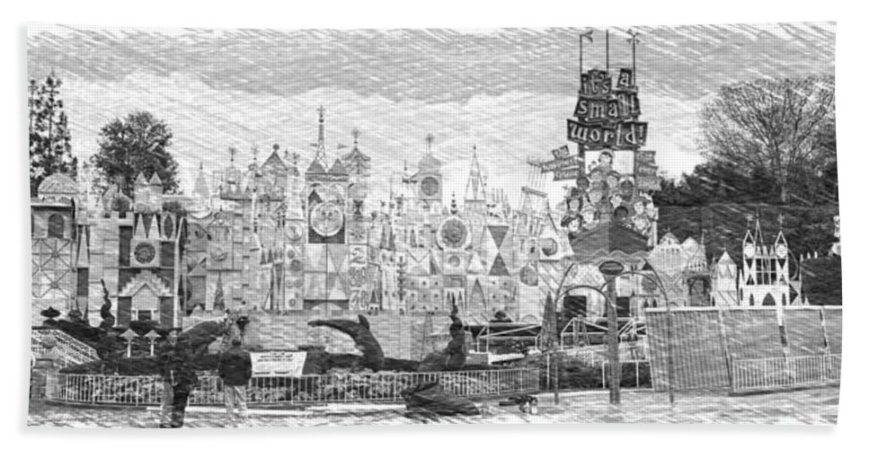 Disney Beach Towel featuring the photograph Disneyland Small World Panorama Pa Bw by Thomas Woolworth