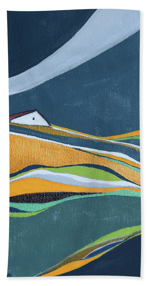 Abstract Beach Towel featuring the painting Distant House by Aniko Hencz