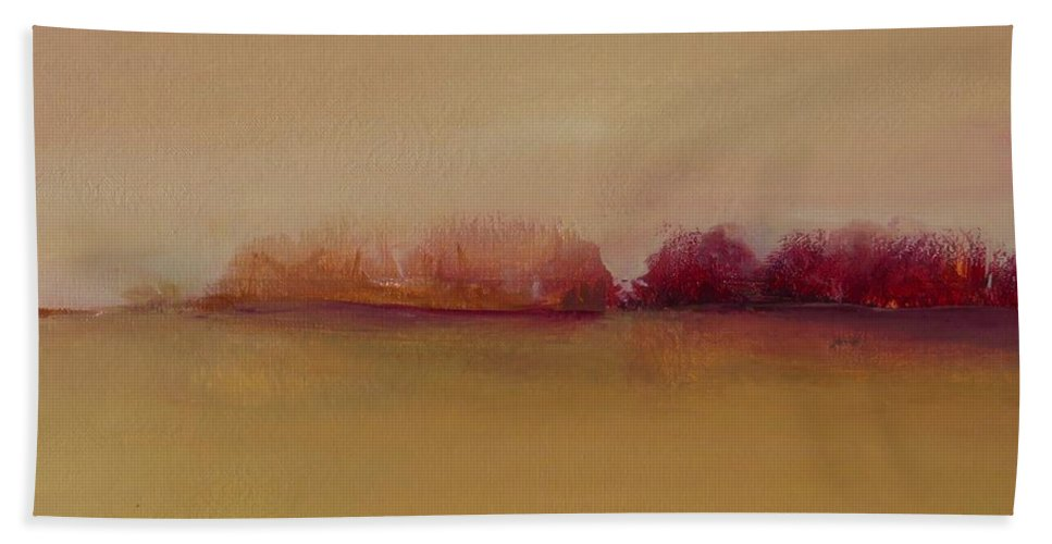 Landscape Beach Towel featuring the painting Distant Red Trees by Michelle Abrams