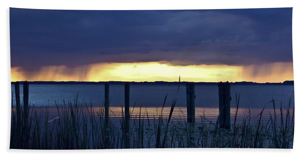 Lake Beach Towel featuring the digital art Distant Storms At Sunset by DigiArt Diaries by Vicky B Fuller