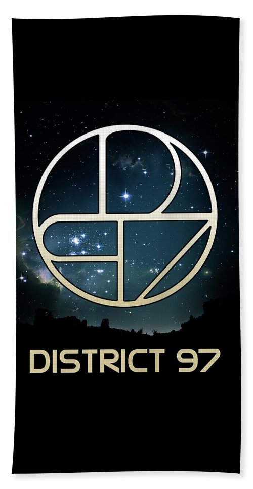 Beach Towel featuring the digital art District 97 Logo by District 97