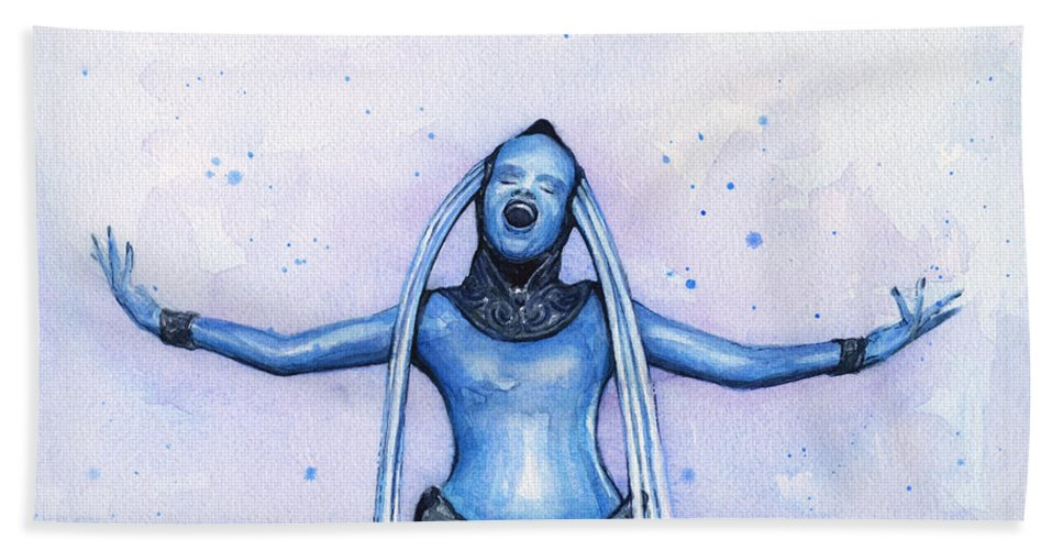 Watercolor Beach Towel featuring the painting Diva Plavalaguna Fifth Element by Olga Shvartsur