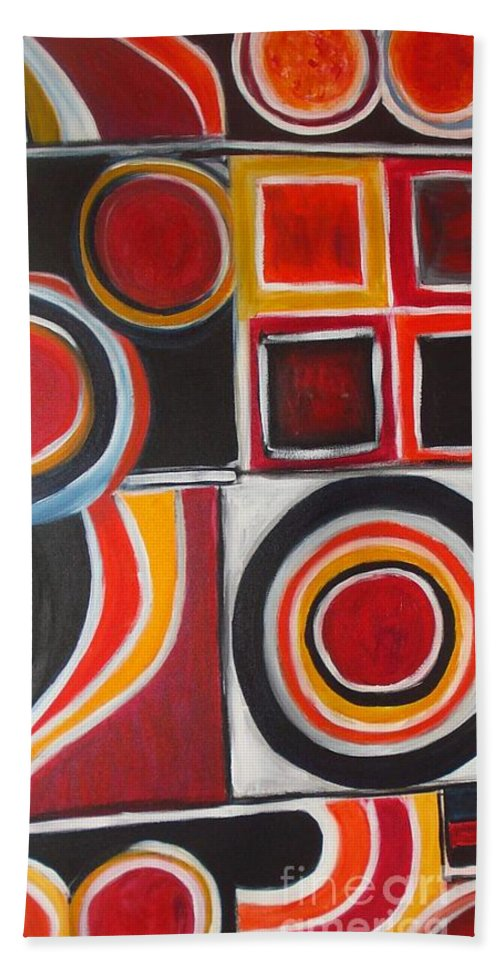 Acrylic Abstract Beach Towel featuring the painting Divine Magnetism by Yael VanGruber