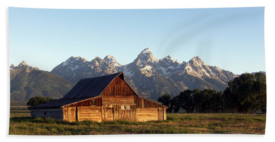 Landscape Yellowstone Grand Tetons Cabin Beach Towel featuring the photograph Dnrd0104 by Henry Butz