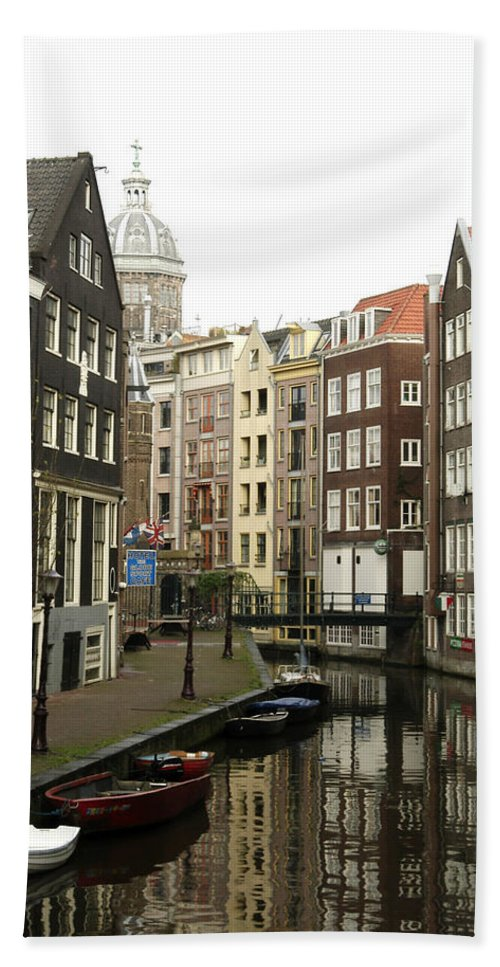 Landscape Amsterdam Red Light District Beach Towel featuring the photograph Dnrh1101 by Henry Butz