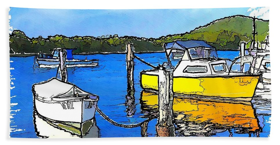 Boats Beach Towel featuring the photograph Do-00147 Resting Boats by Digital Oil