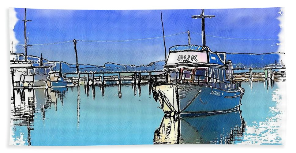 Boat Beach Towel featuring the photograph Do-00231 Hvk Boat Gosford by Digital Oil