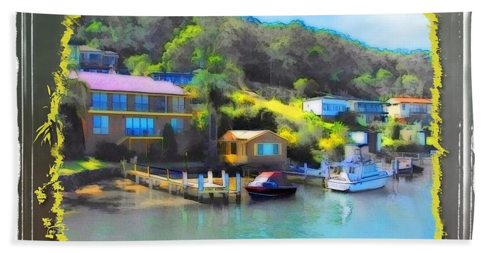 Houses Beach Towel featuring the photograph Do-00243 Houses On Brisbane Water by Digital Oil