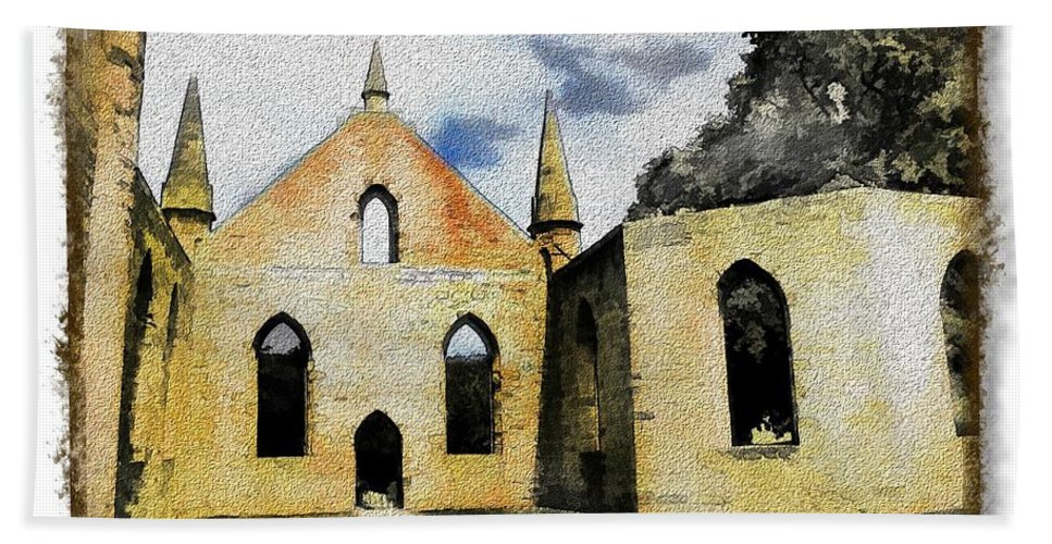 Ancient Beach Towel featuring the photograph Do-00245 Church In Port Arthur by Digital Oil