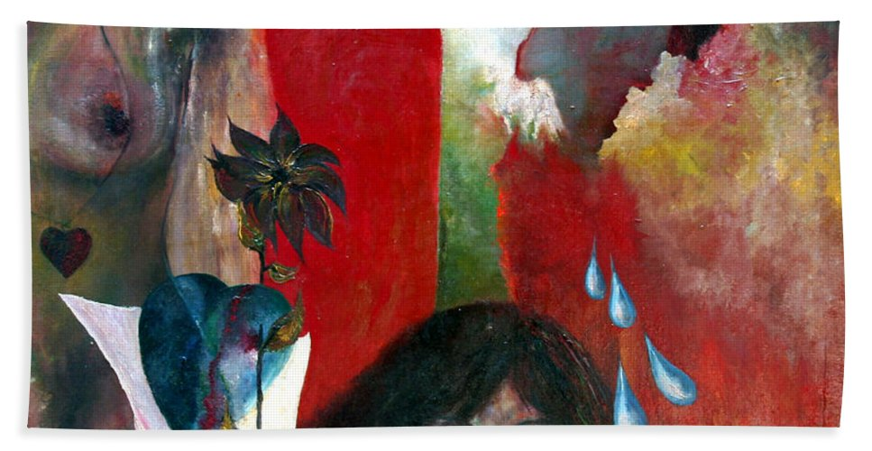 Imagination Beach Towel featuring the painting Do Not Cry by Wojtek Kowalski