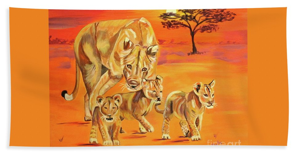 Lioness Beach Towel featuring the painting Do What Mom Says by Phyllis Kaltenbach