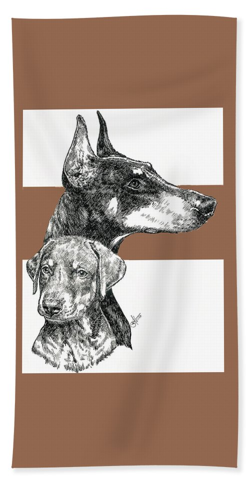 Working Group Beach Towel featuring the mixed media Cropped Doberman Pinscher And Pup by Barbara Keith