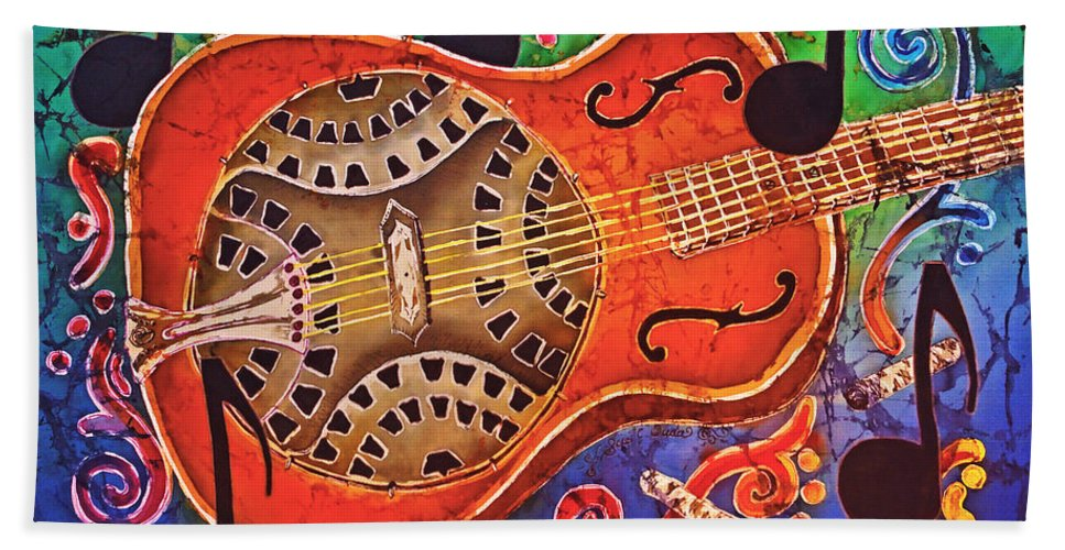 Dobro Beach Towel featuring the tapestry - textile Dobro - Slide Guitar by Sue Duda