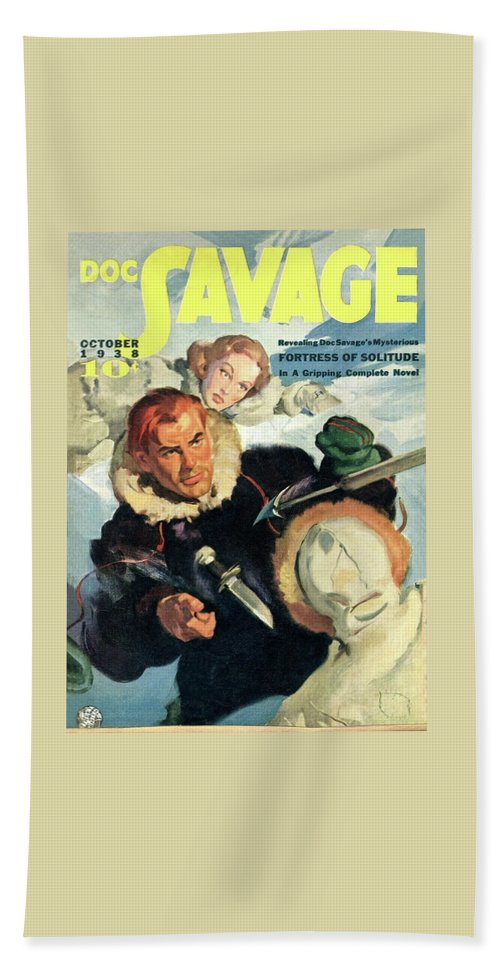 Comic Beach Sheet featuring the painting Doc Savage Fortress of Solitude by Conde Nast