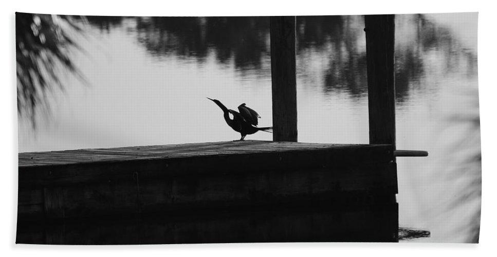 Dock Beach Towel featuring the photograph Dock Bird by Rob Hans