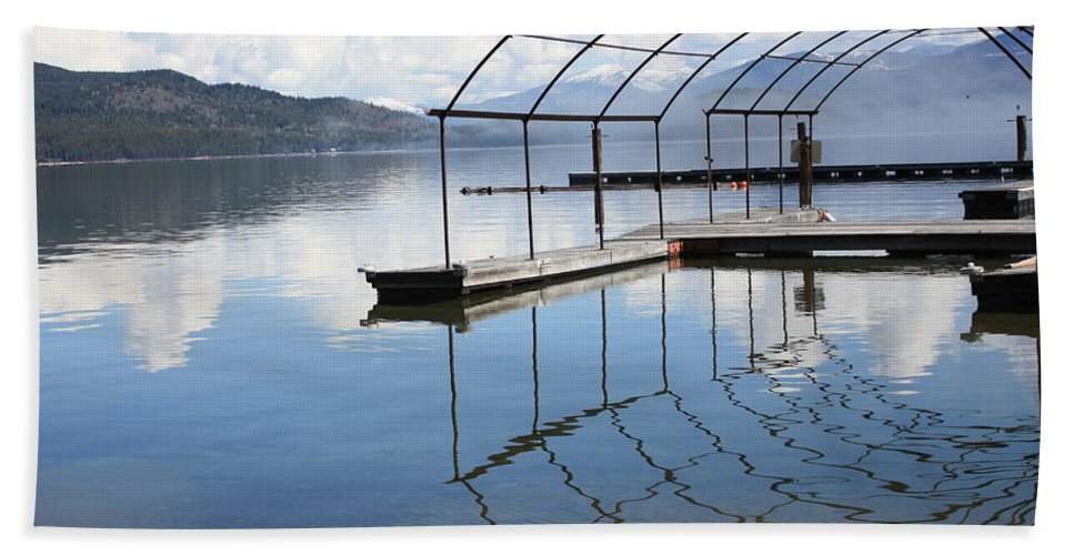 Priest Lake Beach Towel featuring the photograph Dock Reflection by Carol Groenen
