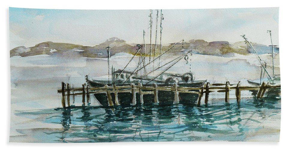 Boat Beach Towel featuring the painting Docking by Xueling Zou