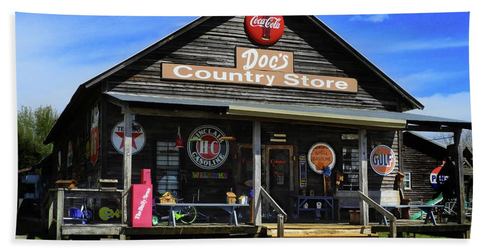Doc's Beach Towel featuring the photograph Doc's Country Store by Laura Ragland