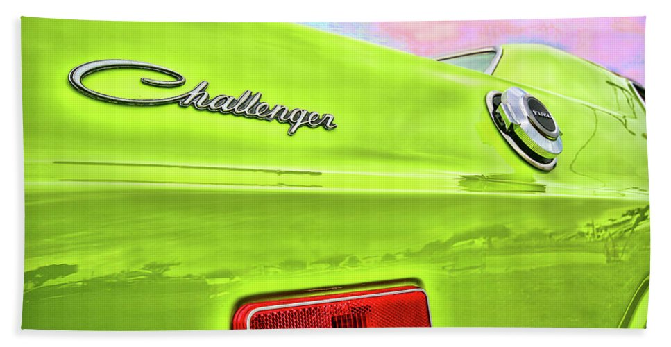 1972 Beach Towel featuring the photograph Dodge Challenger In Sublime Green by Gordon Dean II