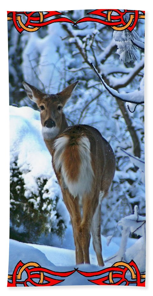 Nature Beach Towel featuring the photograph Doe In The Snow by Ben Upham III
