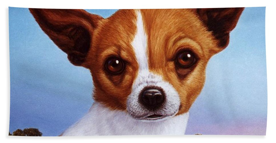 Chihuahua Beach Towel featuring the painting Dog-nature 3 by James W Johnson
