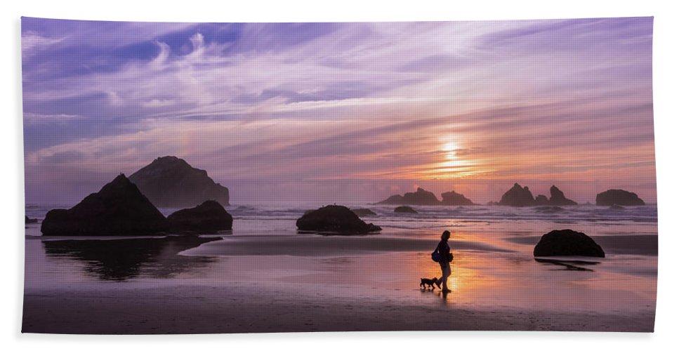 Beach Beach Towel featuring the photograph Dog Walker by Steven Clark