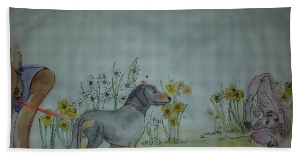 Dogs. Dachshund. Spynx. Cat. Garden. Flower Beach Towel featuring the painting Dogs Dogs Dogs Album by Debbi Saccomanno Chan