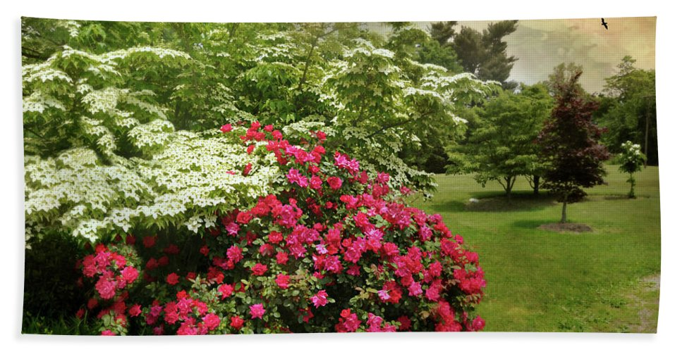 Spring Landscape Beach Towel featuring the photograph Dogwood And Roses by Diana Angstadt