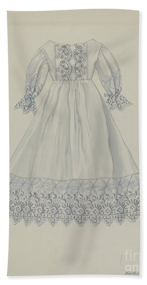 Beach Towel featuring the drawing Doll's Dress by Edith Towner