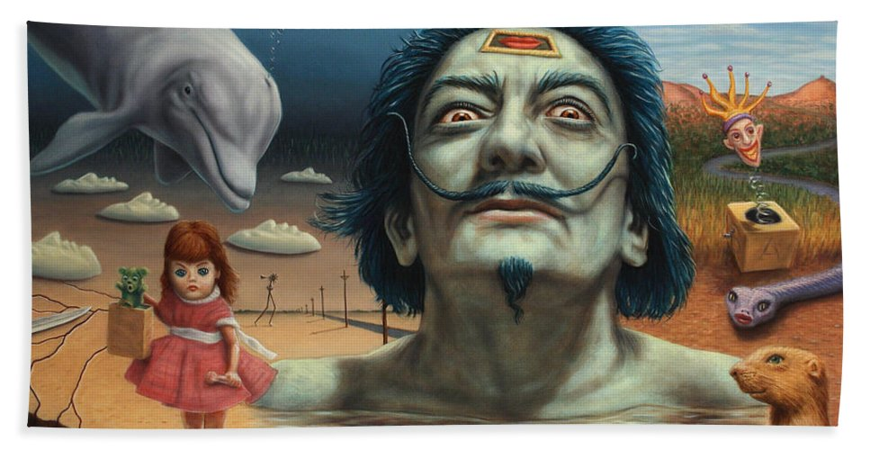 Dali Beach Towel featuring the painting Dolly In Dali-land by James W Johnson