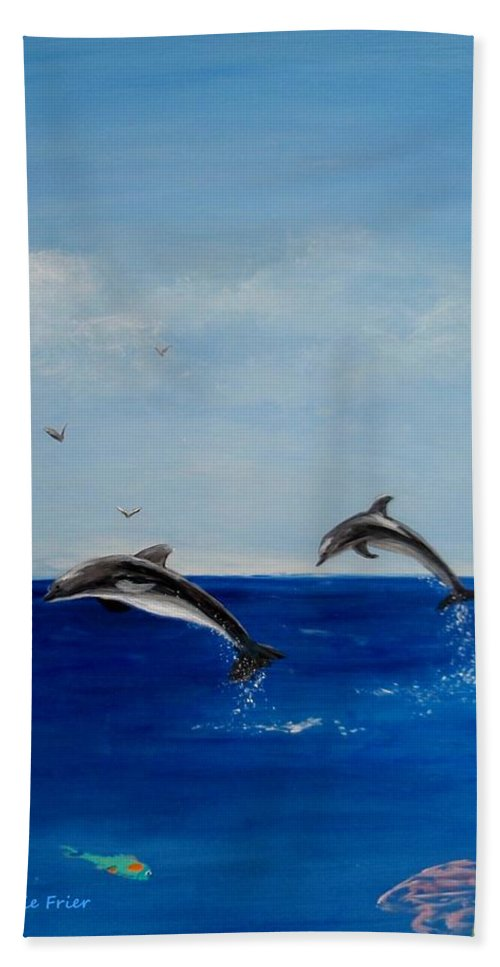 Dolphin Beach Towel featuring the painting Dolphins Playing by Jamie Frier