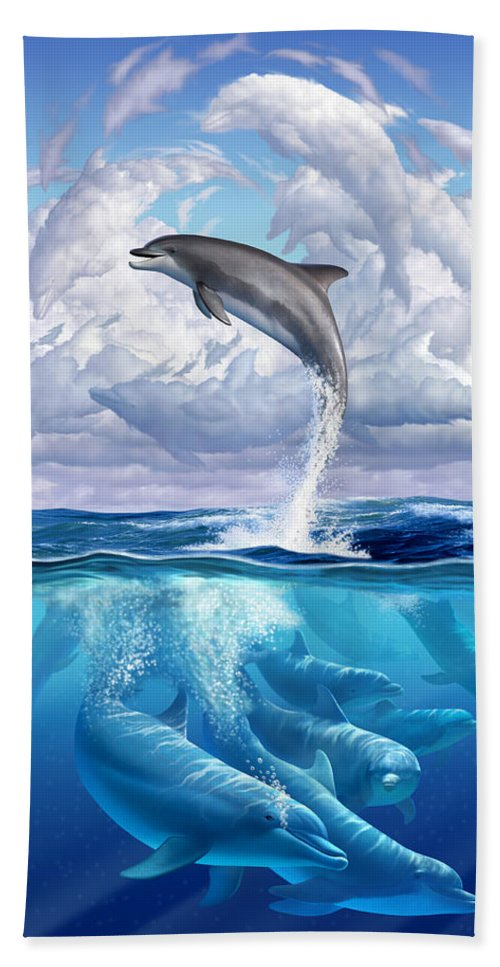 Dolphins Beach Towel featuring the digital art Dolphonic Symphony by Jerry LoFaro