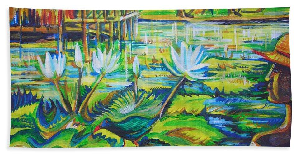 Tropics Beach Sheet featuring the painting Dominicana by Anna Duyunova