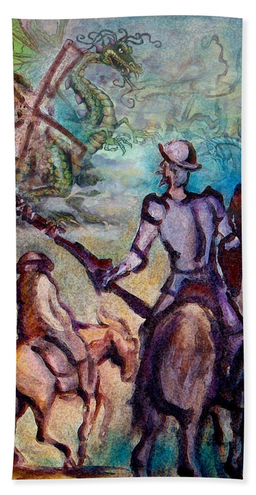 Don Quixote Beach Towel featuring the painting Don Quixote with Dragon by Kevin Middleton