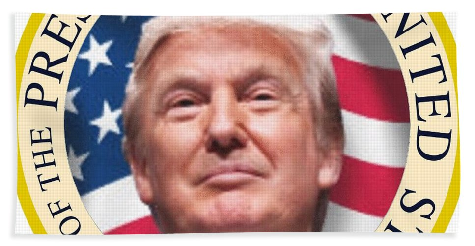 Donald Beach Towel featuring the digital art Donald Trump Us President United States Seal by SMart