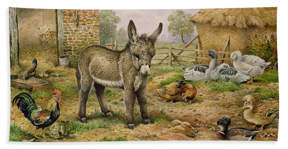 Farmyard Beach Towel featuring the painting Donkey And Farmyard Fowl by Carl Donner